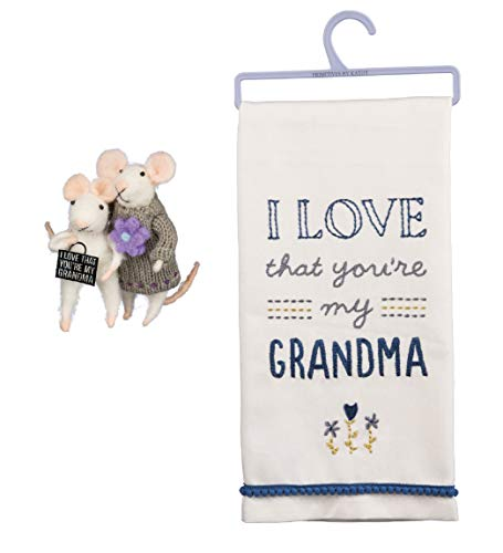 - Primitives by Kathy 3 Piece Love You Grandma Gift Bundle: Kitchen Towel and Felt Mice
