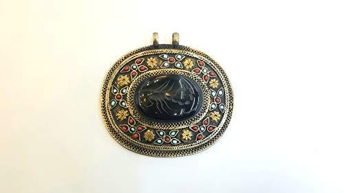 (Afghan Onyx Inlaid Scorpion Engraved Intaglio Pendant Alpaca Silver Oval Shape Ethnic Tribal Gemstone Turkmen Jewelry 8.5cm×8cm Collection)