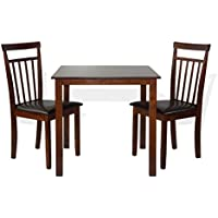 Dining Kitchen Set of 3 Square Table and 2 Classic Wood Chairs Warm in Dark Walnut