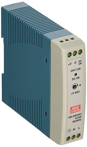 MEAN WELL MDR-20-24 AC to DC DIN-Rail Power Supply, 24V, 1 Amp, 24W, 1.5