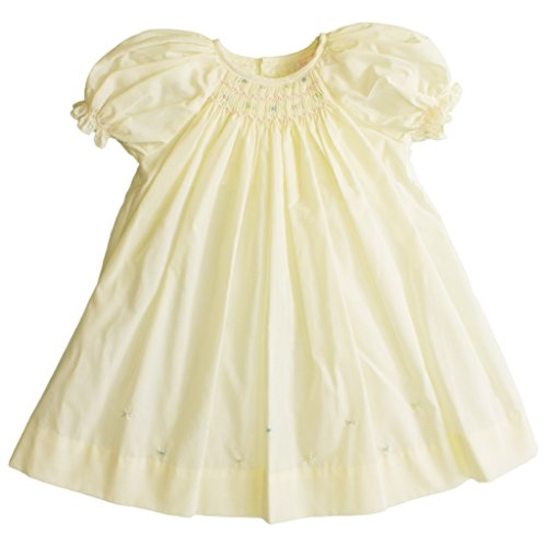 Petit Ami Baby Girls' Daydress with Embroidered Hem, 3 Months, Maize