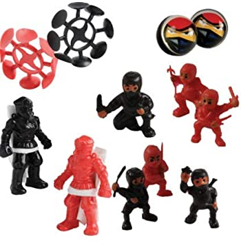-4 Dozen (48) Ninja Warrior Favors Mini Ninja Figures, Parachute figures, Bouncing Balls and Suction Throwing Stars! 1 Dozen of each Birthday Party ...