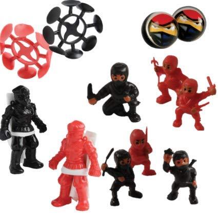 -4 Dozen (48) Ninja Warrior Favors Mini Ninja Figures, Parachute figures, Bouncing Balls and Suction Throwing Stars! 1 Dozen of each Birthday Party ...