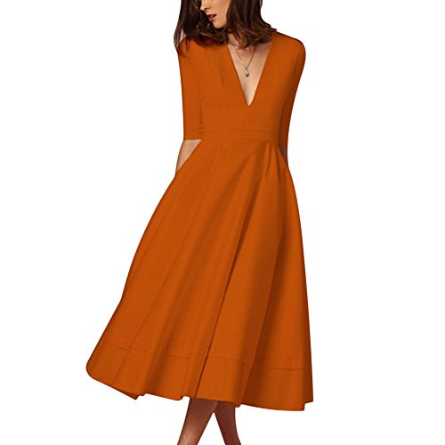 Sleeve Deep Evening Neck Cutecc Sexy Long Elegant Solid V 1 Women Swing Orange Dress Pleated 2 Party nqx8tqPSUw