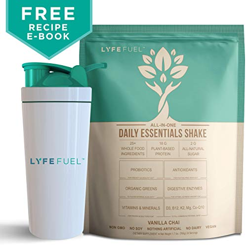 LYFE FUEL Meal Replacement Shake Bundle - Optimal Nutrition for Busy & Active Lifestyles - Plant-Based Protein & Superfoods Powder - Low Carb, Vegan, Soy, Dairy & Gluten Free (Vanilla Chai, 24 Meals)