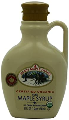 Shady Maple Farms Organic Maple Syrup Grade A, Dark Amber, 32 Ounce