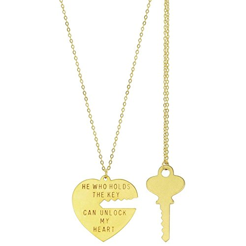 100% Nickel Free Key To My Heart Set Of 2 Pendant Necklaces, Quality Made in Usa, in Gold - Gp My