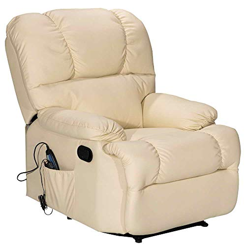 Massage Recliner Chair with Heating and Vibrating, WATERJOY Full Body Leather Massage Chair with Control Black Sofa Chair Recliner for Living Room -