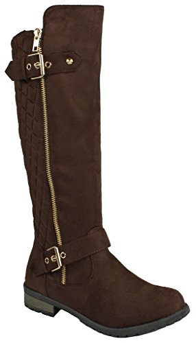 Forever Mango-21 Women's Winkle Back Shaft Side Zip Knee High Flat Riding Boots Brown Nubuck 7