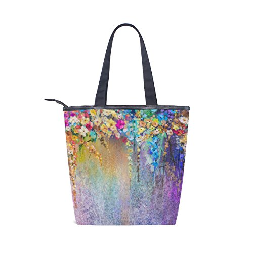 MyDaily Handbag Shoulder Flowers Womens Spring Watercolor Abstract Bag Floral Canvas Tote rAvqwgrU