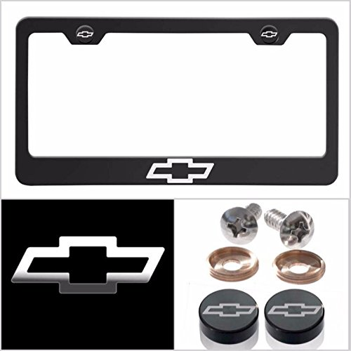 Fit Chevrolet Laser Engraved Logo License Plate Frame Made of Industrial Grade Powder Coated Black Matte Black Stainless Steel w/ Caps and Accessories