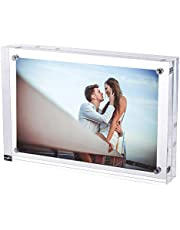 TRIXES Magnetic Acrylic Photo Frame- 6 x 4in – Double Sided Display Block – Clear Transparent-2cm Thickness