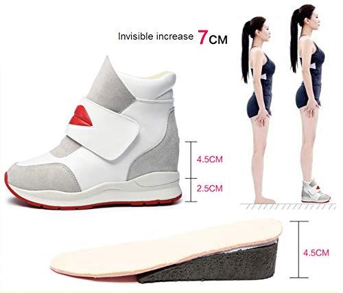 Algodón Moda Más Mujeres Caliente Zapatos De Invisible Terciopelo Deportivos Velcro Blanco Liangxie Cuero Tacón Las Vestido Cuña Formal fBwq4xzqO