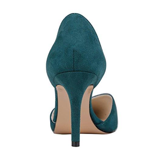 EKS - Zapatos de Tacón Mujer - Dark Gr¨¹n-Wildleder