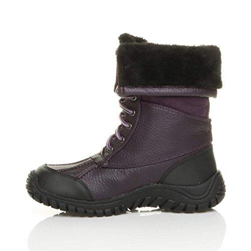 Womens ladies low heel rubber sole flat winter snow winter lace up fur calf boots size Dark Indigo Purple nrPAcV