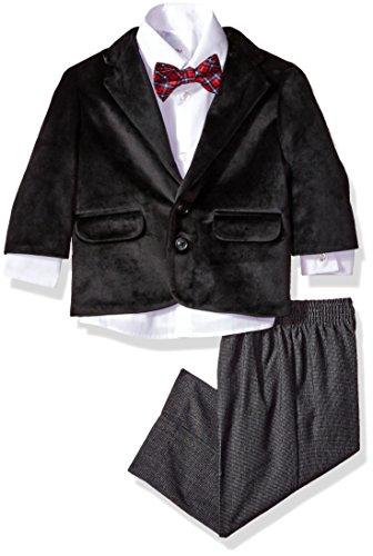 Nautica Boys' Suit Set with Jacket, Pant, Shirt, and Tie, Black Velvet, 18M