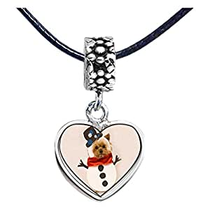 Chicforest Silver Plated Puppy Snowman Photo Flower Head Dangle Heart Charm Beads Fits Pandora Chamilia Biagi Charm Bracelet