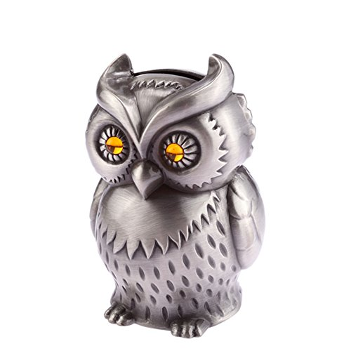 Vintage Engraved Metal Mini Owl Piggy Bank, NACOLA Savings Coin Money ()