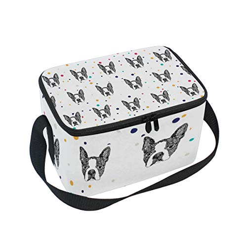 Lunch Bag Cute Boston Terrier, Large Insulated Bento Cooler Box with Black Shoulder Strap for Men Women Kids, BaLin 10