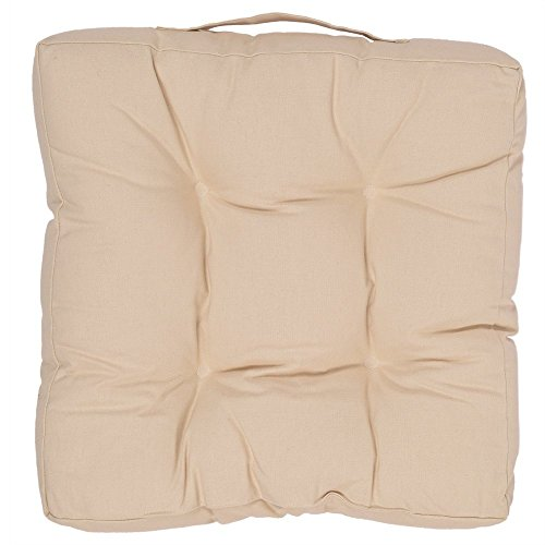 Indoor Chair Cushion Pad Car Seat Pillow Pure Cotton with Beige Color and Polyester Filling 15 X 15 (Halloween Party Ideas Senior Citizens)