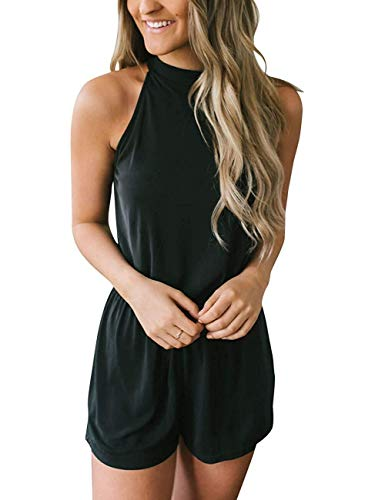 - Annystore Women's Black Rompers - Sexy Halter Neck Elastic Waist Solid Color Sleeveless Jumpsuit Rompers XL
