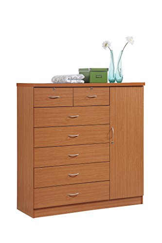 Hodedah 7 Drawer Jumbo Chest, Five Large Drawers, Two Smaller Drawers with Two Lock, Hanging Rod, and Three Shelves, Cherry - Cherry Wide Vanity