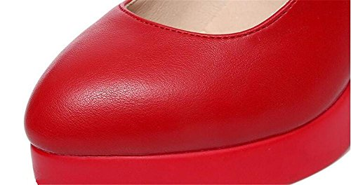 Damenschuhe Leder Block Hacke Mary Jane Büro Arbeit Formal Klettverschluss Gurt Plattform Gericht Pumpe Größe 36 bis 43 red 10cm