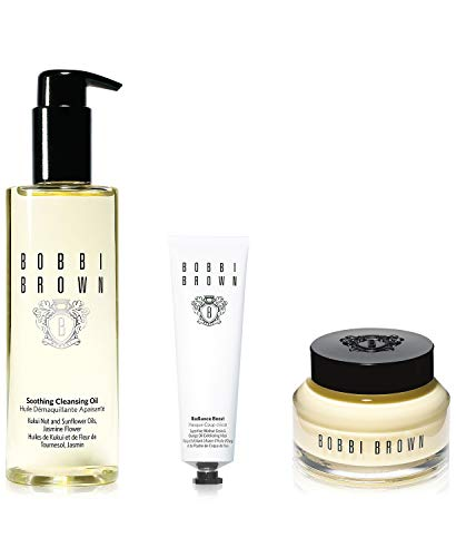 Bobbi Brown Healthy Skin Trio Set With 3 Pieces Including Soothing Cleansing Oil, Vitamin Enriched Face Base, and Radiance Boost Superfine Walnut Grain and Orange Oil Exfoliating Mask ()