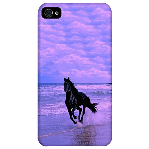 Coque Apple Iphone 4-4s - Cheval noir mer