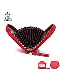 Credit Card Holder for Women, IBFUN Leather Wallet with RFID Blocking Small Accordion Wallet Red
