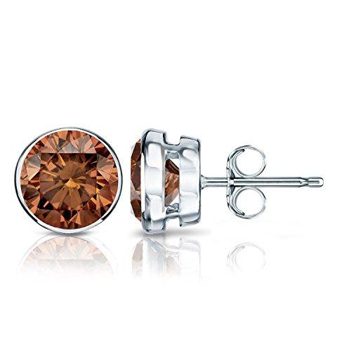 Platinum Men's Round Brown Diamond Bezel-set Stud Earrings (2 ct, Brown, SI2-I1)