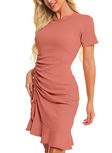 Zaprada Casual Pink Bodycon T Shirt Dresses for Women Summer Crew Neck Side Drawstring Ruched Ruffle Mini Dress