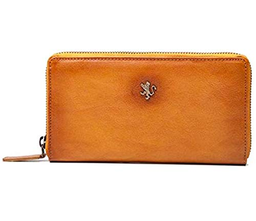 Pratesi Italian Leather Museo Stibbert Womens Zippered Pocketbook Wallet in cow Leather Bruce Collection, Cognac
