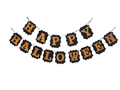 Happy Halloween Garland (Happy Halloween Banner Seasons Treasure 9ft Handmade Glittered Felt Halloween Decoration Banner Garland with 14 pcs Happy Halloween pennants Banner for Halloween Decor (Happy)