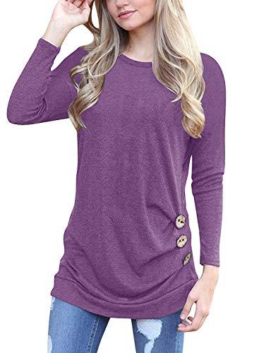 - Women's Long Sleeve Tunic Pullover Sweatshirts Purple M