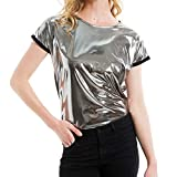 Liliam Women Shiny Metallic Round Neck Hip Hop Tank Tops Blouse T-Shirt Tee Party Clubwear(S)