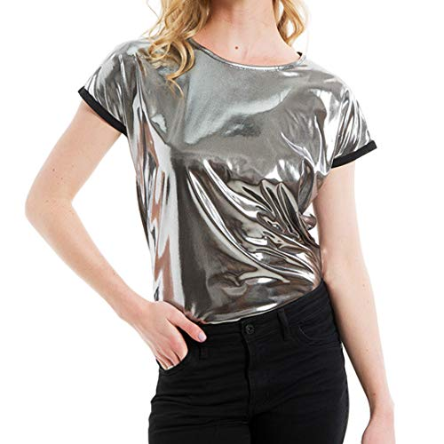 Liliam Women Shiny Metallic Round Neck Hip Hop Tank Tops Blouse T-Shirt Tee Party Clubwear(M) by Liliam