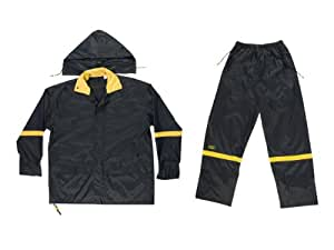 CLC Rain Wear R103L Black Nylon 3-Piece Rain Suit - Large