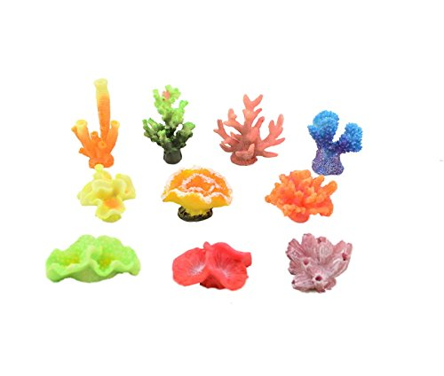 CNZ Artificial Coral Plant for Fish Tank Decorative Aquarium Reef Ornament (10-Piece Assorted Coral)