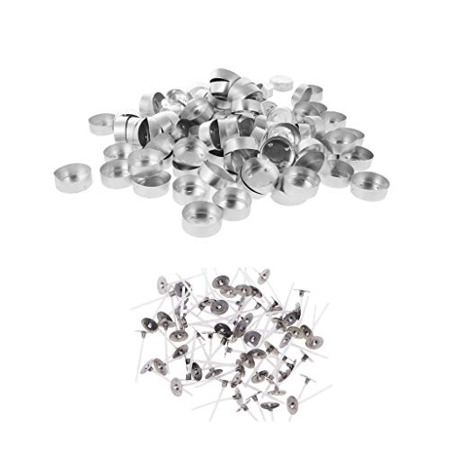 Baosity 100 Pieces Empty Aluminum Case Tealight Cups Containers + 100 Pieces Cotton CORE Candle Wicks with TABS DIY Tea Light Candle Making Supplies