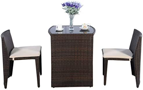 HAPPYGRILL 3PCS Patio Wicker Bistro Set Outdoor Rattan Convention Sofa Set Patio Furniture Set