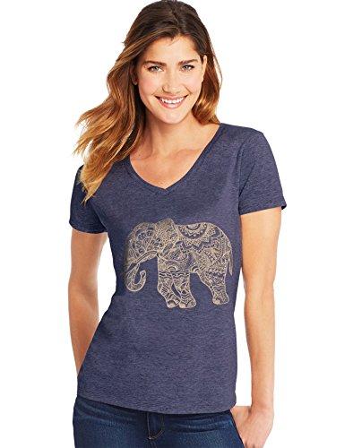 Elephant V-neck - Hanes Women's Short Sleeve Graphic V-Neck Tee, Pattern Elephant/Navy Heather, 2X Large