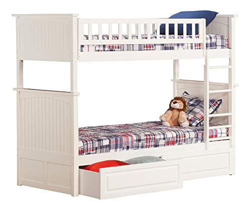 Atlantic Furniture AB59122 Nantucket Bunk Bed with 2 Raised Panel Bed Drawers, Twin/Twin, White