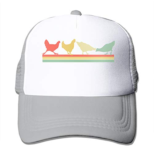 - Vintage Chickens Adjustable Mesh Trucker Baseball Cap Men Women Hip-hop Hat Gray