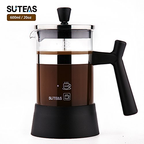 French Press Coffee Maker with Superior Filtration System(20oz,600ml) – Heat-Resistant Borosilicate Glass & SUS304 Grade Stainless Steel – One Free Bobus Stainless Steel Filter Mesh in the Package
