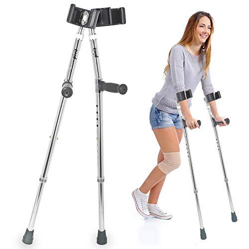 Pivit Adjustable Aluminum Forearm Crutches for Short Adults & Kids 4'10