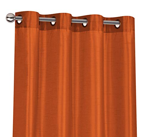 Regal Home Collections 2 Pack Semi Sheer Faux Silk Grommet Curtains - Assorted Colors (Spice) (Spice Curtains)