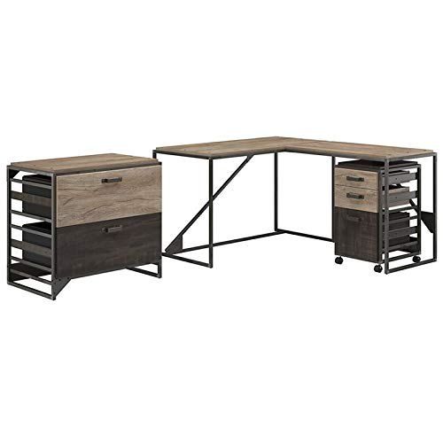 - Bush Furniture Refinery 50W L Shaped Industrial Desk with 37W Return and File Cabinets in Rustic Gray