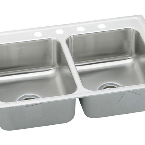 Elkay LRAD3321400 0-Hole Double Basin Top-Mount from the Gourmet Lustertone Series Stainless Steel Kitchen Sink ()