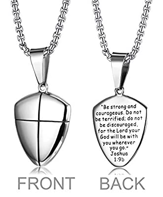 LOYALLOOK Stainless Steel Shield of Faith Engraved Joshua 1:9b Armor of God Cross Pendant Necklace for Men